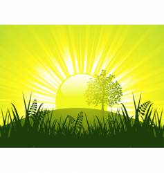 sunset and tree vector image vector image