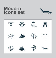 travel icons set collection of gingham yacht vector image