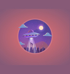 ufo flying saucer cartoon vector image