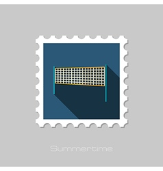 Volleyball net beach sport flat stamp summer vector