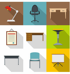 workplace icons set flat style vector image vector image