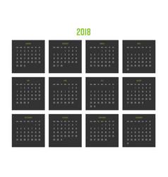 year 2018 calendar week starts from sunday vector image vector image