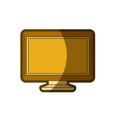 yellow aged silhouette of lcd monitor vector image vector image