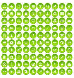 100 baby icons set green circle vector