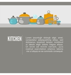 Kitchen equipment objacts background flat design vector