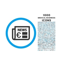 Euro newspaper rounded icon with 1000 bonus icons vector