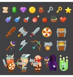 Game icons medieval viking inventory heroes vector