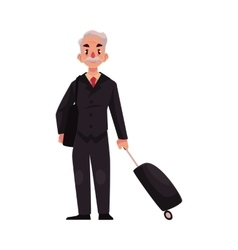 Old senior man in black suit with suitcase in vector