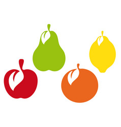 Fruit icon collection group of different fruit vector