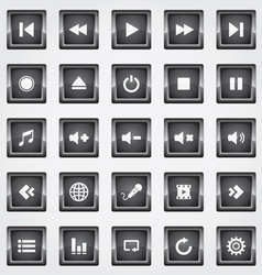 Media square button black vector