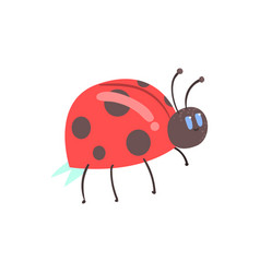 Cute cartoon red ladybug character vector