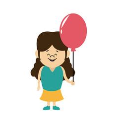 cartoon little girl young holding balloon vector image