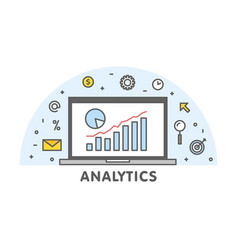 online analytics concept line laptop with web vector image
