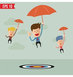 Business cartoon with umbrella on the target - vector image