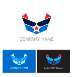 star wing shield company logo vector image