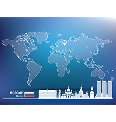 Map pin with moscow skyline vector