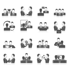 Partnership icons set vector
