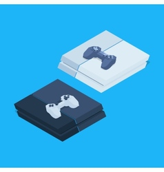 Isometric nextgen gaming consoles with gamepads vector