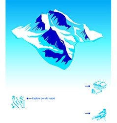 Skiing resort booklet vector