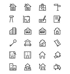 Real estate line icons 2 vector