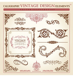 Raphic elements vintage ornament set vector vector