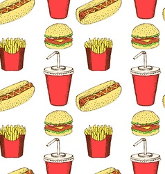 Sketch fast food in vintage style vector