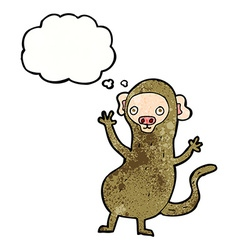 Cartoon monkey with thought bubble vector