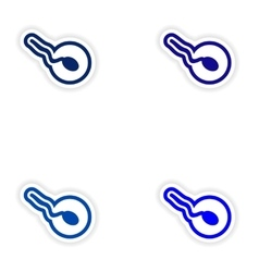 Set paper stickers on white background sperm and vector