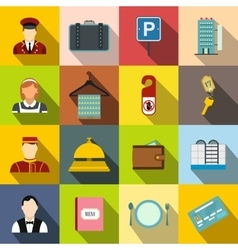 Hotel flat icons set vector