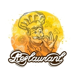Restaurant logo design template cook chef vector