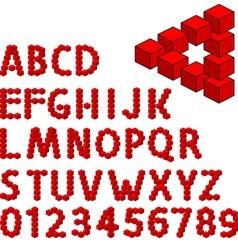 three dimension alphabet set vector image