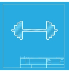 Dumbbell weights sign white section of icon on vector