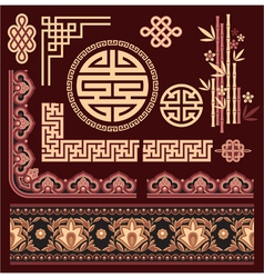 Set of oriental pattern elements vector