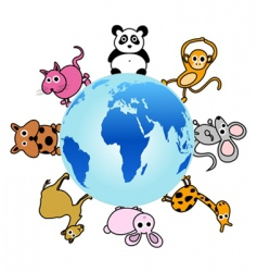 animal around the globe vector image