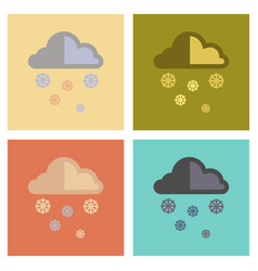 Assembly flat icons nature cloud snow vector