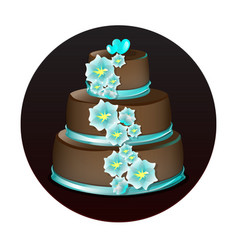 Big delicious chocolate cake vector