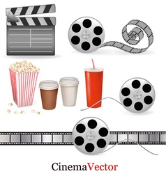 big set of cinema objects vector image vector image