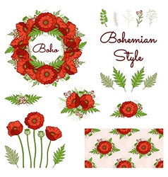 Bohemian style collection with poppies vector
