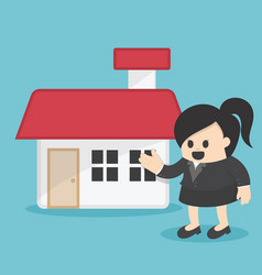 business woman offering home vector image