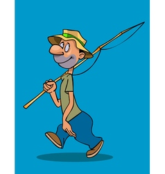 cartoon smiling man walks with a fishing rod vector image