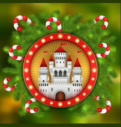 Christmas white castle candy sticks and fir-tree vector