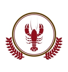 circular border with crown branch with lobster vector image vector image