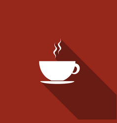 Coffee cup flat icon with long shadow tea cup vector