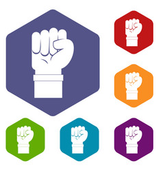 Fist icons set hexagon vector