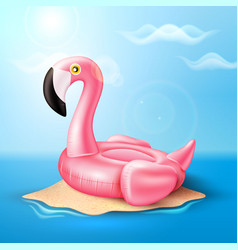 Flamingo inflatable pool ring on beach vector