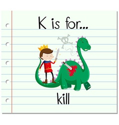 Flashcard alphabet k is for kill vector