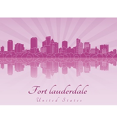 Fort Lauderdale skyline in purple radiant orchid vector image