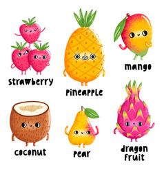 fruit characters set 1 vector image vector image