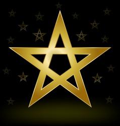 Gold pentagram vector