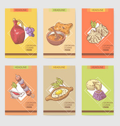 Hand drawn georgian food brochure template vector